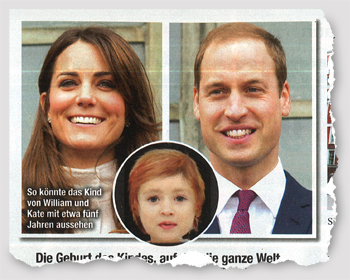 Fotos von Kate, William und einer digitalen Kinderpuppe