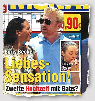 """Boris Becker - Liebes-Sensation! Zweite Hochzeit mit Babs? [Unter einem kleineren Foto, auf dem Lilly Becker allem Anschein nach betet, steht: """"Lilly am Boden""""]"""