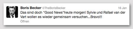 """@TheBorisBecker: """"Das sind doch 'Good News'heute morgen! Sylvie und Rafael van der Vart wollen es wieder gemeinsam versuchen...Bravo!!!"""