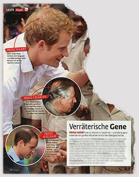 Verräterische Gene [auf den Fotos haben Charles, Harry und William allesamt kreisrunden Haarausfall am Hinterkopf]
