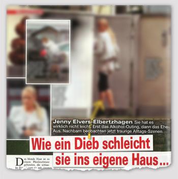 Jenny Elvers-Elbertzhagen - Sie hat es wirklich nicht leicht. Erst das Alkohol-Outing, dann das Ehe-Aus. Nachbarn beobachten jetzt traurige Alltags-Szenen - Wie ein Dieb schleicht sie ins eigene Haus ...