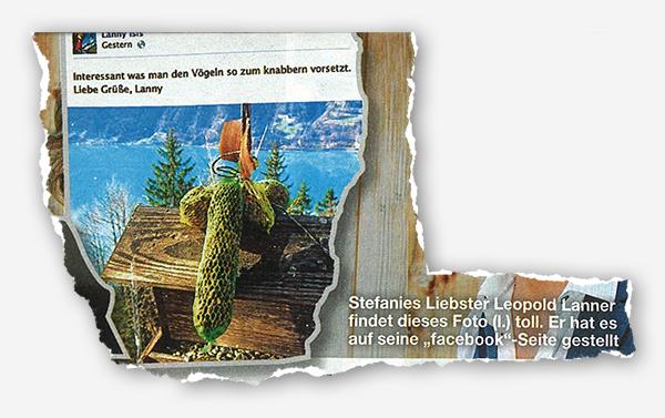 """[Foto von Lannys Facebook-Seite; Vogelfutter in Penisform] - Stefanies Liebster Leopold Lanner findet dieses Foto (l.) toll. Er hat es auf seine """"facebook""""-Seite gestellt."""