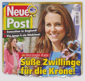 Sensation in England! Ein Junge & ein Mädchen! Herzogin Kate - Süße Zwillinge für die Krone!