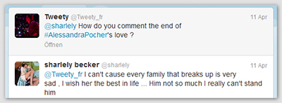 [Tweet von @Tweety_fr:] @sharlely How do you comment the end of #AlessandraPocher's love? [Antwort von @sharlely:] @Tweety_fr I can't cause every family that breaks up is very sad , I wish her the best in life ... Him not so much I really can't stand him