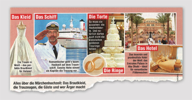 Das Kleid - Das Schiff - Die Torte - Die Ringe - Das Hotel - Alles über die Märchenhochzeit.