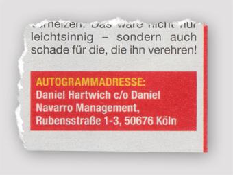 Autogrammadresse von Daniel Hartwich
