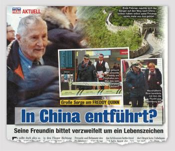 Große Sorge um Freddy Quinn - In China entführt?