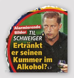 Ausriss Die neue Frau - Alarmierende Bilder - Til Schweiger - Ertränkt er seinen Kummer im Alkohol?