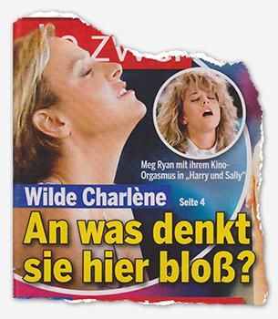 """Wilde Charlène - An was denkt sie hier bloß? [Daneben ein Foto von Meg Ryan aus """"Harry und Sally"""". Die Pose ist einigermaßen ähnlich.] - Meg Ryan mit ihrem Kino-Orgasmus in """"Harry und Sally"""""""