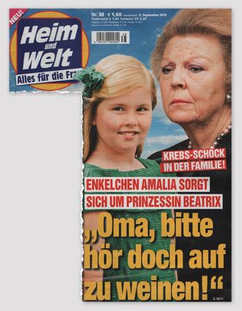 """Krebs-Schick in der Familie - Enkelchen Amalia sorgt sich um Prinzessin Beatrix - """"Oma, bitte hör doch auf zu weinen!"""""""
