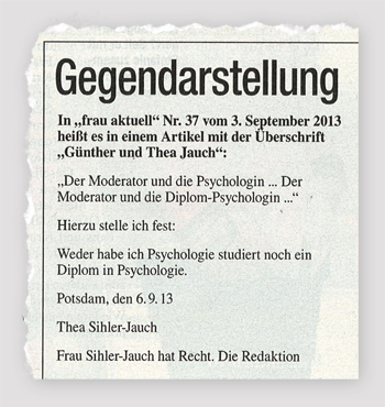 Gegendarstellung von Thea Sihler-Jauch