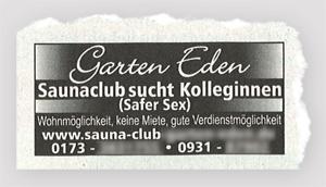 Garten Eden - Saunaclub sucht Kolleginnen
