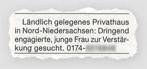 Ländlich gelegenes Privathaus in Nord-Niedersachsten: Dringend engagierte, junge Frau zur Verstärkung gesucht.