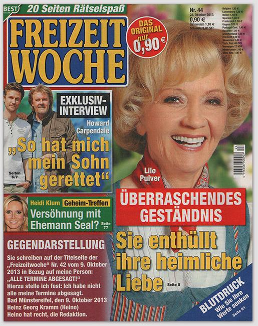 """Gegendarstellung - Sie schreiben auf der Titelseite der """"Freizeitwoche"""" Nr. 42 vom 9. Oktober 2013 in Bezug auf meine Person: """"ALLE TERMINE ABGESAGT!"""" Hierzu stelle ich fest: Ich habe nicht alle meine Termine abgesagt. Bad Münstereifel, den 9. Oktober 2013 - Heinz Georg Kramm (Heino) - Hein hat recht, die Redaktion."""