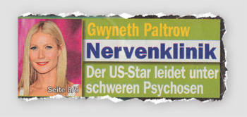 Gwyneth Paltrow - Nervenklinik - Der US-Star leidet unter schweren Psychosen