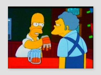 Homer droht Moe mit seinem Fehdehandschih