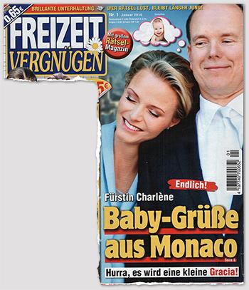 """Endlich! Fürstin Charlène - Baby-Grüße aus Monaco - Hurra, es wird eine kleine Gracia [Auf dem Foto lehnt sich Charlène an die Schulter von Albert. In einer Denkblase sieht man ein kleines Baby [""""Symbolfoto""""]]."""