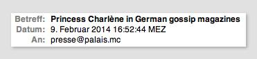 E-Mail an Palast Monacos