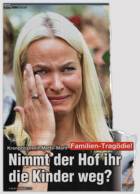 Kronprinzessin Mette-Marit - Familien-Tragödie - Nimmt der Hof ihr die Kinder weg? [Anm.: Auf dem Foto weint Mette-Marit.]
