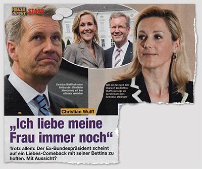 """Christian Wulff - """"Ich liebe meine Frau immer noch"""" - Trotz allem: Der Ex-Bundespräsident scheint auf ein Liebes-Comeback mit seiner Bettina zu hoffen. Mit Aussicht? [Auf dem Foto schaut Christain Wulff nach oben. In einer Denkblase sieht man ein Foto der Wulffs von früher.]"""