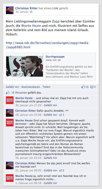 "Screenshot Facebook: Gespräch zwischen ""Woche heute"" und Christian Ritter"