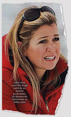 """Zu sehen ist Máxima mit, naja, verkrampftem Gesichtsausdruck. Bildunetrschrift: """"Lieber Gott, nein! Die Angst steht ihr ins Gesicht geschrieben, als Maxima ihr Töchterchen so hilflos sieht"""