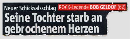 Neuer Schicksalsschlag - ROCK-Legende BOB GELDOF (62) - Seine Tochter starb an gebrochenem Herzen