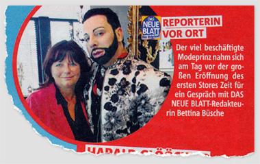 Reporterin vor Ort - Der viel beschäftigte Modeprinz nahm sich am Tag vor der großen Eröffnung des ersten Stores Zeit für ein Gespräch mit DAS NEUE BLATT-Redakteurin Bettina Büsche