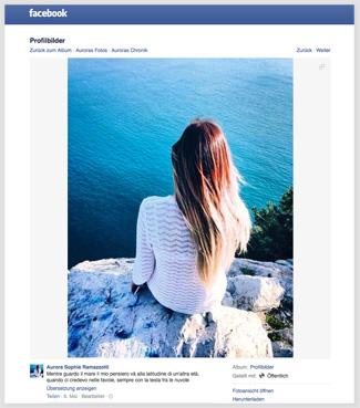 Der Screenshot zeigt ein Foto, dass die Tochter von Michelle Hunziker bei Facebook hochgeladen hat. Auf diesem Foto sitzt sie auf einer Felsenklippe und schaut aufs Meer.