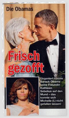 Frisch gezofft - Ungeniert küsste Barack Obama seine Freundin Kathleen Sebelius auf den Mund - das konnte sich Michelle (l.) nicht gefallen lassen!
