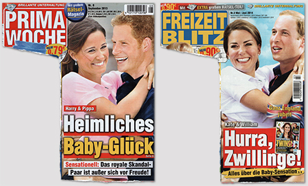 "Links: ""Harry & Pippa - Heimliches Baby-Glück"" - Rechts: ""Kate & William - Hurra, Zwillinge!"""