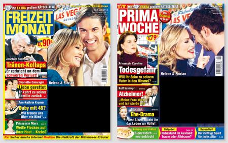 """Screenshot der Titelseiten von """"Freizeit Monat"""" und """"Prima Woche"""" mit geschwärzten Titelschlagzeilen"""