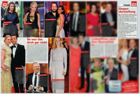 Übersicht über die Doppelseite mit der Geschichte über Gegendarstellungen von Prominenten auf der linken Seite und der Gegendarstellung von Günther Jauch auf der rechten Seite.
