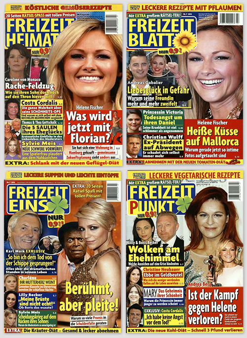 """Cover von """"Freizeit Heimat"""", """"Freizeit Blatt"""", """"Freizeit eins"""" und """"Freizeit Punkt"""""""