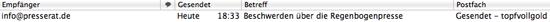 Der Screenshot zeigt die Sendebestätigung eine E-Mail an den Presserat.