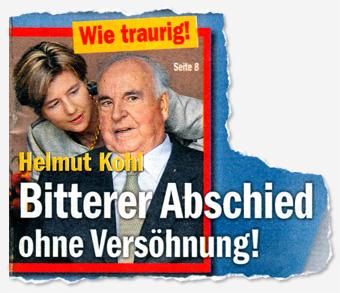 Wie traurig! Helmut Kohl - Bitterer Abschied ohne Versöhnung!