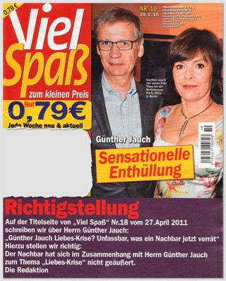 """Titelseite der """"Viel Spaß"""" Nummer 10/2015 mit der Richtigstellung über Günther Jauch und einer neuen Titelstory über Jauch"""