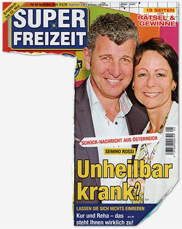 Schock-Nachricht aus Österreich - Semino Rossi - Unheilbar krank? [die nächste Überschrift direkt darunter lautet:] Lassen Sie sich nichts einreden - Kur und Reha - das steht Ihnen wirklich zu!